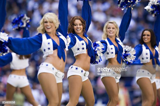 Dallas Cowboys cheerleaders perform during the game against the Tampa Bay Buccaneers at Texas Stadium on October 26 2008 in Irving Texas The Cowboys...