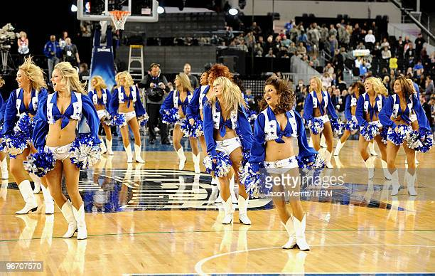 Dallas Cowboys Cheerleaders perform during the NBA AllStar Game held at Cowboys Stadium on February 14 2010 in Arlington Texas
