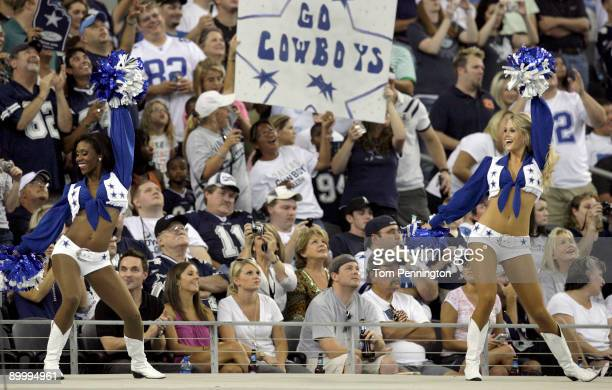 Dallas Cowboys Cheerleaders perform for the fans before the Cowboys take the field against the Tennessee Titans during a preseason game at Cowboys...