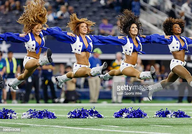 Dallas Cowboys cheerleaders perform prior to the NFL Thanksgiving game between the Carolina Panthers and the Dallas Cowboys played at ATT Stadium in...
