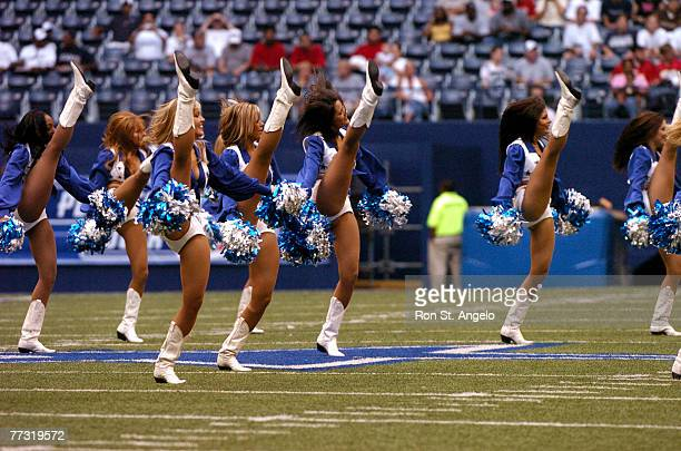 Dallas Cowboys Cheerleaders take the field in a game with the Kansas City Chiefs at Texas Stadium in Irving, Texas on September 2, 2004. The Cowboys...