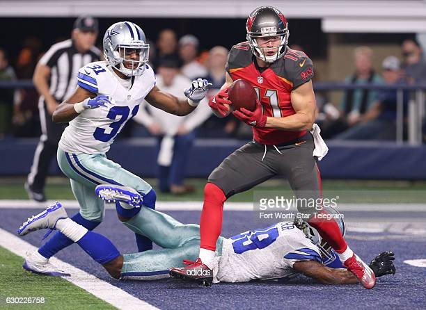 Dallas Cowboys cornerback Brandon Carr and Byron Jones can't stop Tampa Bay Buccaneers wide receiver Adam Humphries from a touchdown catch on Sunday...