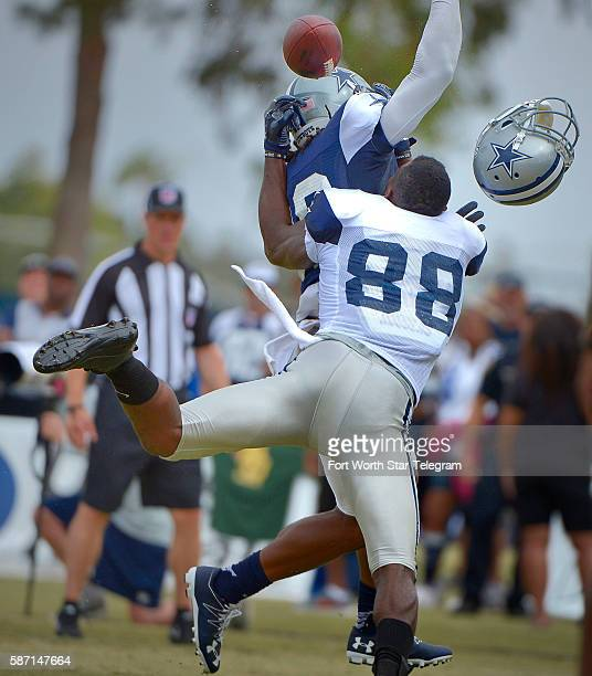 Dallas Cowboys cornerback Brandon Carr is called for interference on end zone pass to wide receiver Dez Bryant during the Blue vs White scrimmage on...