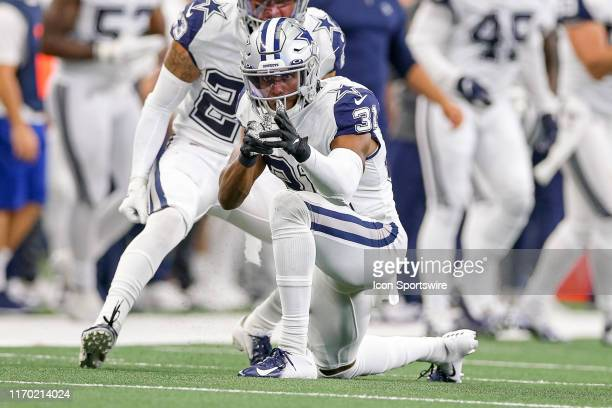 Dallas Cowboys Cornerback Byron Jones celebrates a play during the game between the Miami Dolphins and Dallas Cowboys on September 22 2019 at ATT...