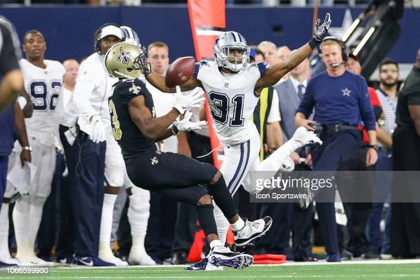 Dallas Cowboys Cornerback Byron Jones is called for pass interference on New Orleans Saints Wide Receiver Michael Thomas during the game between the...