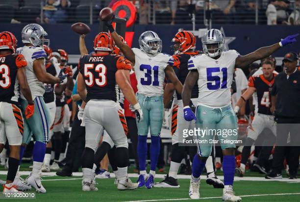 Dallas Cowboys cornerback Byron Jones reacts after recovering a fumble in the second quarter against the Cincinnati Bengals on Saturday Aug 18 2018...