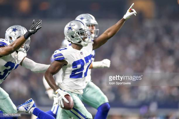 Dallas Cowboys cornerback Jourdan Lewis celebrates after recovering a fumble during the game between the Jacksonville Jaguars and Dallas Cowboys on...