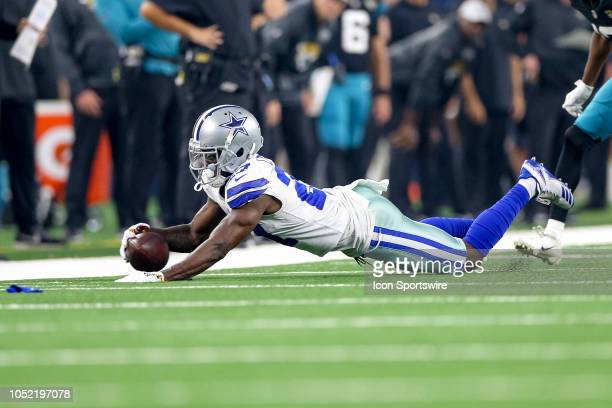 Dallas Cowboys cornerback Jourdan Lewis dives on a fumble during the game between the Jacksonville Jaguars and Dallas Cowboys on October 14 2018 at...