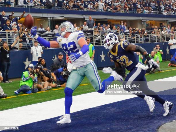 A Dallas Cowboys Dak Prescott pass goes off the fingertips of Jason Witten late in the second quarter against the Los Angeles Rams on Sunday Oct 1...