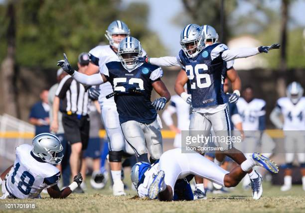 Dallas Cowboys defensive back Duke Thomas and Dallas Cowboys linebacker Justin MarchLillard react to a play during the Dallas Cowboys Training Camp...