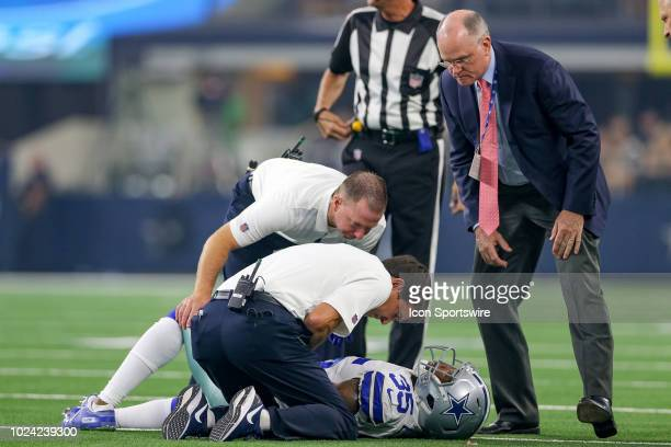 Dallas Cowboys defensive back Kavon Frazier is injured during the preseason football game between the Dallas Cowboys and Arizona Cardinals on August...
