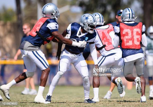 Dallas Cowboys defensive back Xavier Woods works against a teammate during special teams practice during the Dallas Cowboys Training Camp on August...