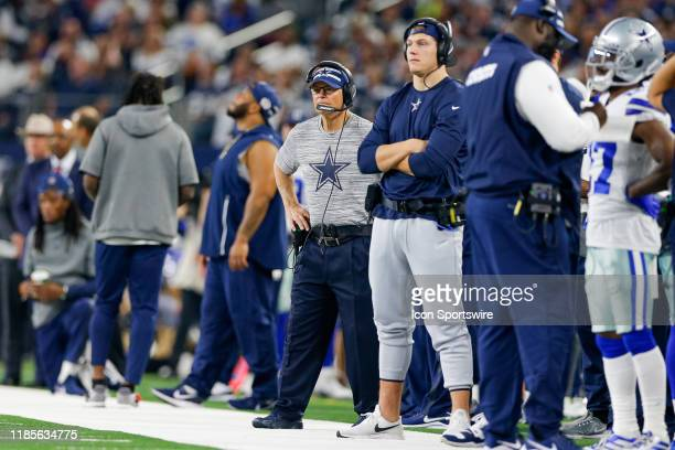 Dallas Cowboys Defensive Coordinator Rod Marinelli watches from the sideline with Linebacker Leighton Vander Esch during the game between the Buffalo...