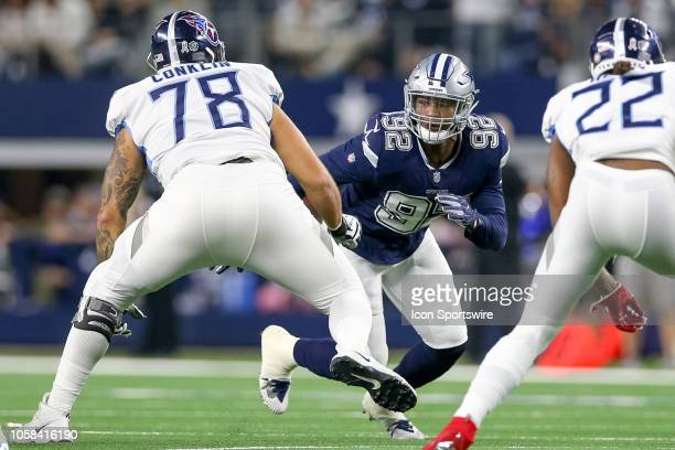 Dallas Cowboys defensive end Dorance Armstrong works against Tennessee Titans offensive tackle Jack Conklin during the game between the Tennessee...