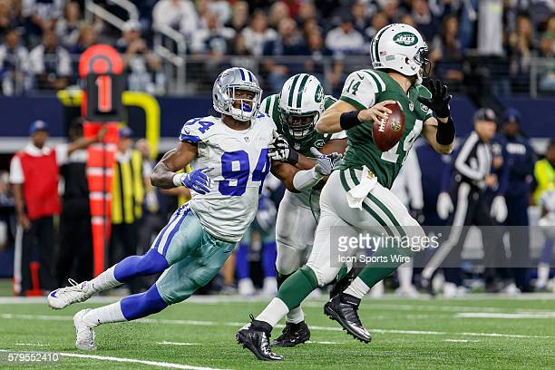 Dallas Cowboys Defensive End Randy Gregory [20417] pressures New York Jets Quarterback Ryan Fitzpatrick [7893] during the NFL Saturday Night game...