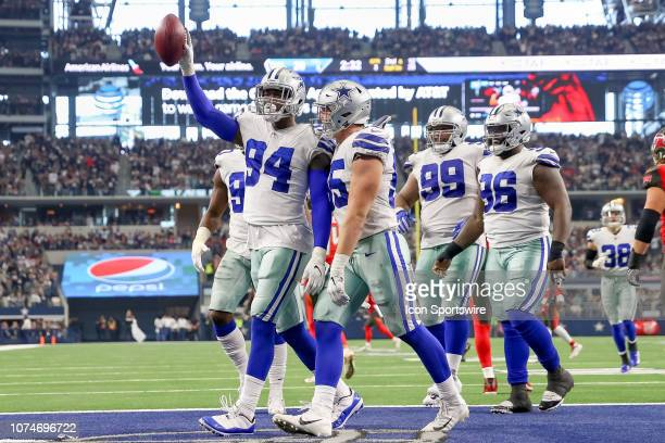 Dallas Cowboys Defensive End Randy Gregory celebrates after recovering a fumble deep in Tampa Bay's end of field during the game between the Dallas...