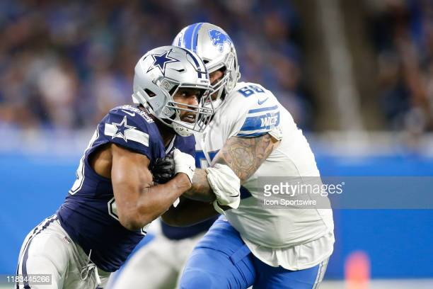 Dallas Cowboys defensive end Robert Quinn rushes against Detroit Lions offensive tackle Taylor Decker during a regular season game between the Dallas...