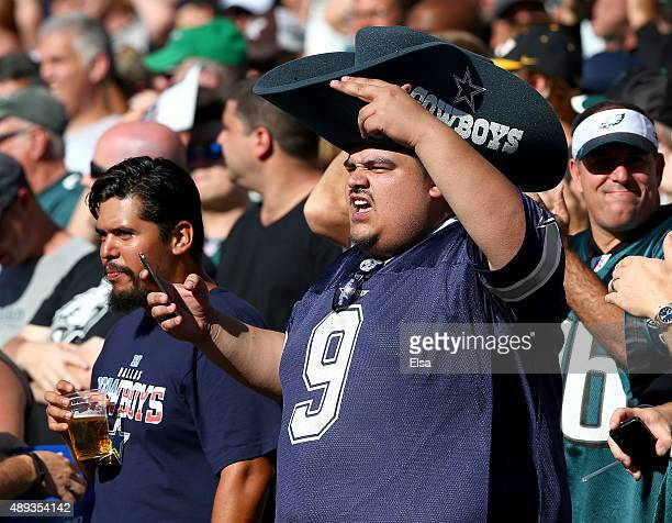 Dallas Cowboys fan cheers on his team in the first quarter against the Philadelphia Eagles on September 20 2014 at Lincoln Financial Field in...