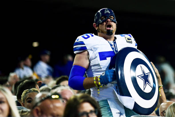 Dallas Cowboys fan reacts during the 2021 NFL preseason Hall of Fame Game against the Pittsburgh Steelers at Tom Benson Hall Of Fame Stadium on...