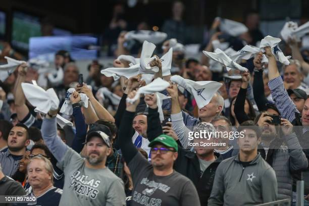 Dallas Cowboys fans wave white towels before the game between the Dallas Cowboys and the Philadelphia Eagles on December 9 2018 at ATT Stadium in...