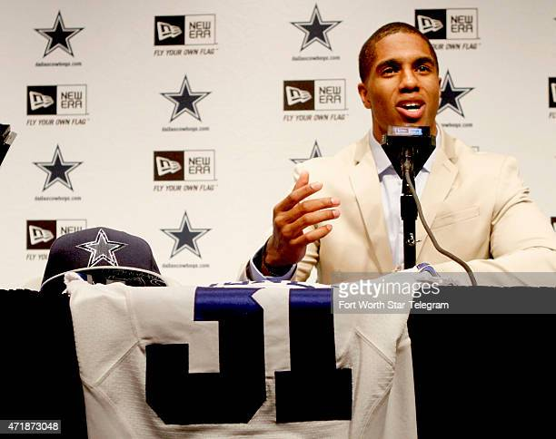 Dallas Cowboys firstround draft pick Byron Jones during his introductory news conference at Valley Ranch Texas on Friday May 1 2015 The cornerback...