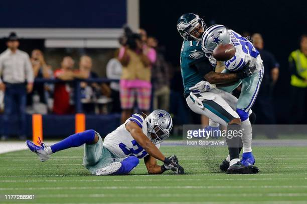 Dallas Cowboys free safety Xavier Woods hits Philadelphia Eagles wide receiver Alshon Jeffery and knocks the ball loose during the game between the...