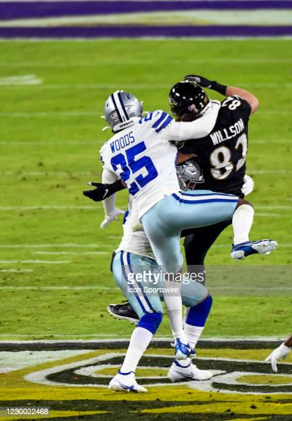Dallas Cowboys free safety Xavier Woods is called for pass interference on Baltimore Ravens tight end Luke Willson during the Dallas Cowboys game...