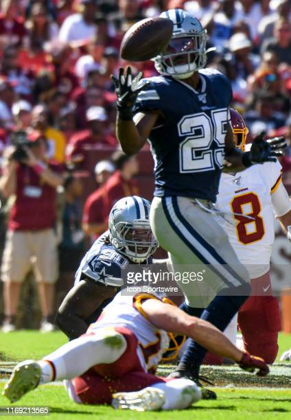 Dallas Cowboys free safety Xavier Woods nearly intercepts a pass against the Washington Redskins on September 15 at FedEx Field in Landover MD