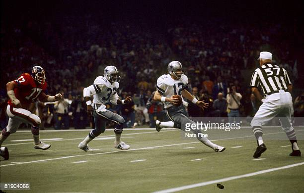 Dallas Cowboys Hall of Fame quarterback Roger Staubach looking to pass in a 2710 win over the Denver Broncos in Super Bowl XII on January 15 1978 at...