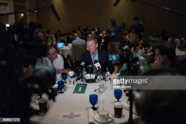 Dallas Cowboys head coach Jason Garrett answers questions during the AFC NFC coaches breakfast at the 2018 NFL Annual Meetings at the Ritz Carlton...
