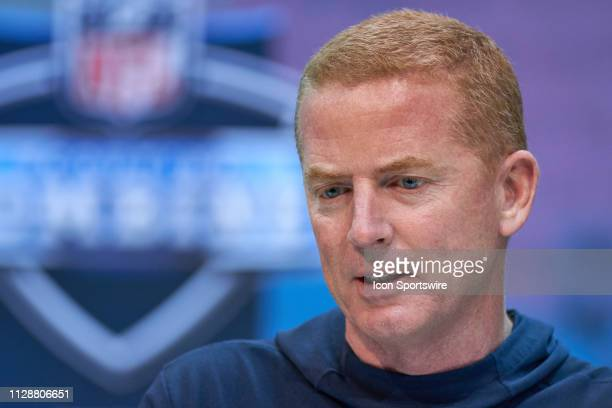 Dallas Cowboys head coach Jason Garrett during the NFL Scouting Combine on February 27 2019 at the Indiana Convention Center in Indianapolis IN