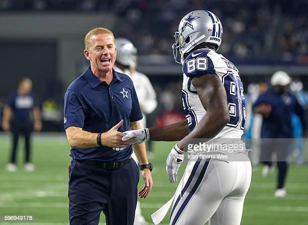 Dallas Cowboys Head Coach Jason Garrett Greets Dez Bryant