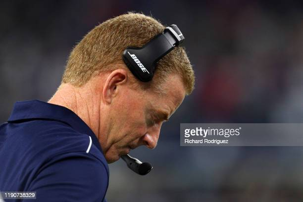 Dallas Cowboys head coach Jason Garrett stands on the sideline in the fourth quarter of a game against the Buffalo Bills at ATT Stadium on November...