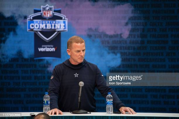 Dallas Cowboys head coach Jason Garrett talks to the media during the NFL Scouting Combine on February 27 2019 at the Indiana Convention Center in...