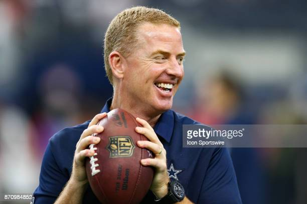 Dallas Cowboys head coach Jason Garrett warms up prior to the NFL game between the Kansas City Chiefs and Dallas Cowboys on November 5 2017 at ATT...