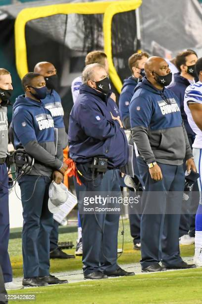 Dallas Cowboys head coach Mike McCarthy stands for the National Anthem during the game between the Dallas Cowboys and the Philadelphia Eagles on...