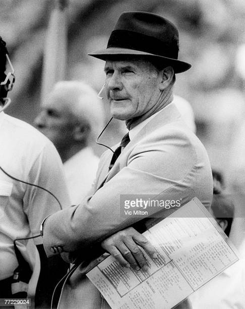 Dallas Cowboys head coach Tom Landry during a 2421 win over the San Diego Chargers on November 16 1986 at Jack Murphy Stadium in San Diego California