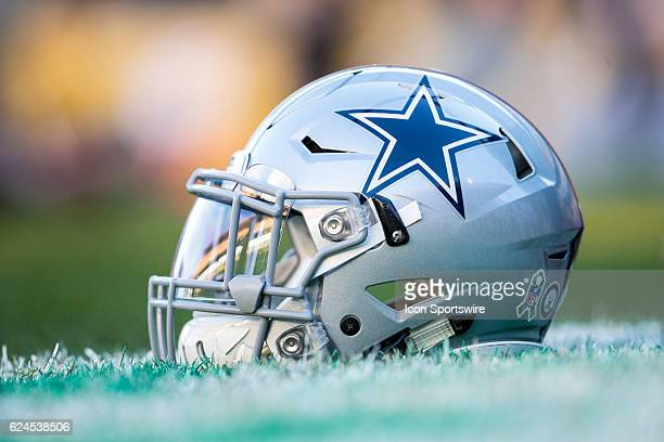 Dallas Cowboys helmet during the NFL Football game between the Dallas Cowboys and the Pittsburgh Steelers on November 13 at Heinz Field in Pittsburgh...
