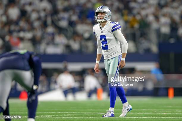 Dallas Cowboys kicker Brett Maher lines up for a kick during the NFC wildcard playoff game between the Seattle Seahawks and Dallas Cowboys on January...