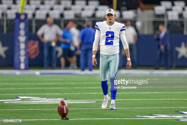 Dallas Cowboys kicker Brett Maher warms up prior to the game between the New York Giants and Dallas Cowboys on September 16 2018 at ATT Stadium in...