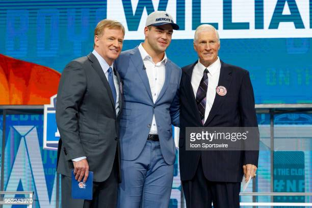 Dallas Cowboys Legend Bob Lilly and NFL Commissioner Roger Goodell pose with Cowboys 50th overall pick University of Texas Guard Connor Williams...