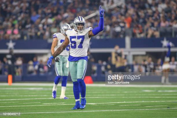 Dallas Cowboys linebacker Damien Wilson sets the formation during the preseason game between the Dallas Cowboys and Cincinnati Bengals on August 18...
