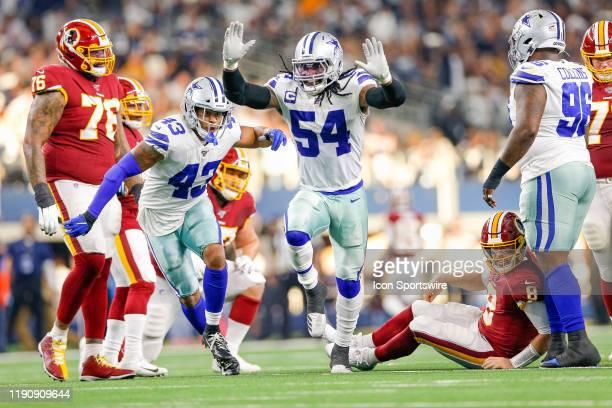 Dallas Cowboys Linebacker Jaylon Smith celebrates after sacking Washington Redskins Quarterback Case Keenum during the NFC East game between the...