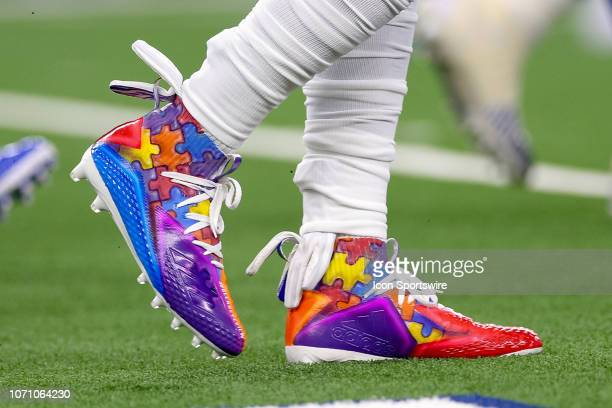 Dallas Cowboys Linebacker Jaylon Smith shoes during the game between the Philadelphia Eagles and Dallas Cowboys on December 9 2018 at ATT Stadium in...