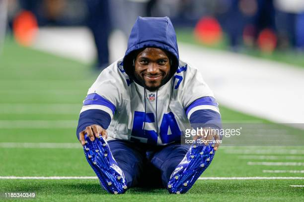 Dallas Cowboys Linebacker Jaylon Smith stretches prior to the game between the Buffalo Bills and Dallas Cowboys on November 28 2019 at ATT Stadium in...