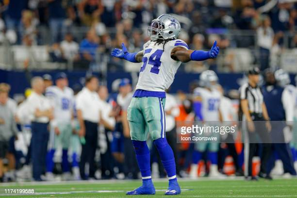 Dallas Cowboys middle linebacker Jaylon Smith celebrates a sack during the game between the Green Bay Packers and Dallas Cowboys on October 6 2019 at...