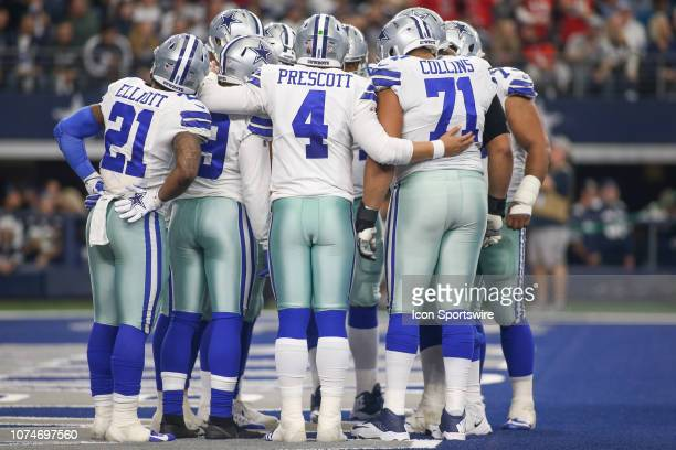 Dallas Cowboys offense huddles during the game between the Tampa Bay Buccaneers and Dallas Cowboys on December 23 2018 at ATT Stadium in Arlington TX