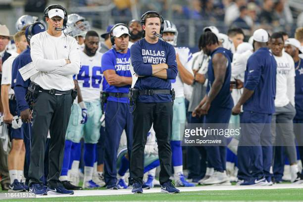 Dallas Cowboys Offensive Coordinator Kellen Moore looks on during the preseason game between the Houston Texans and Dallas Cowboys on August 24, 2019...