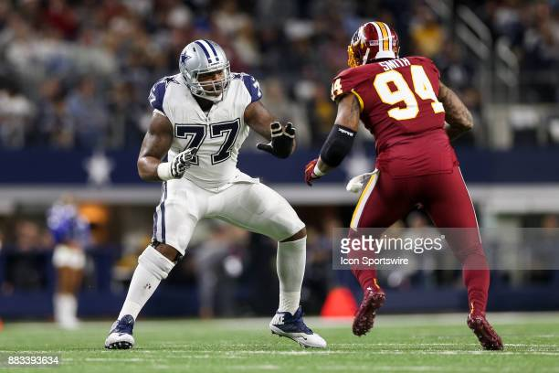 Dallas Cowboys offensive tackle Tyron Smith blocks Washington Redskins linebacker Preston Smith during the Thursday Night Football game between the...