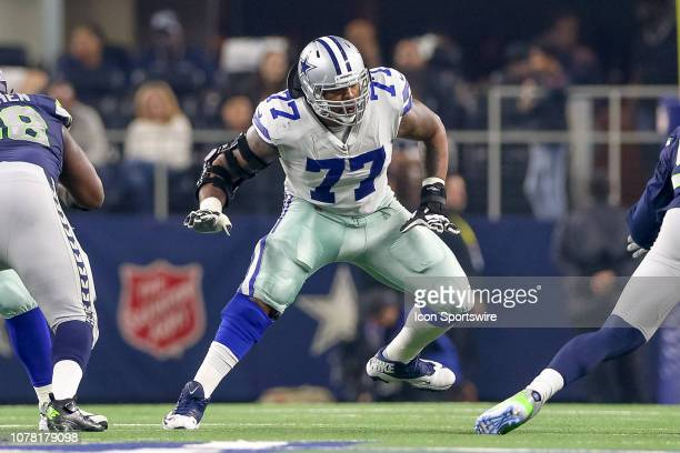 Dallas Cowboys offensive tackle Tyron Smith sets to block during the NFC wildcard playoff game between the Seattle Seahawks and Dallas Cowboys on...